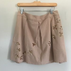 Anthropologie Muted Metallic Gold Skirt